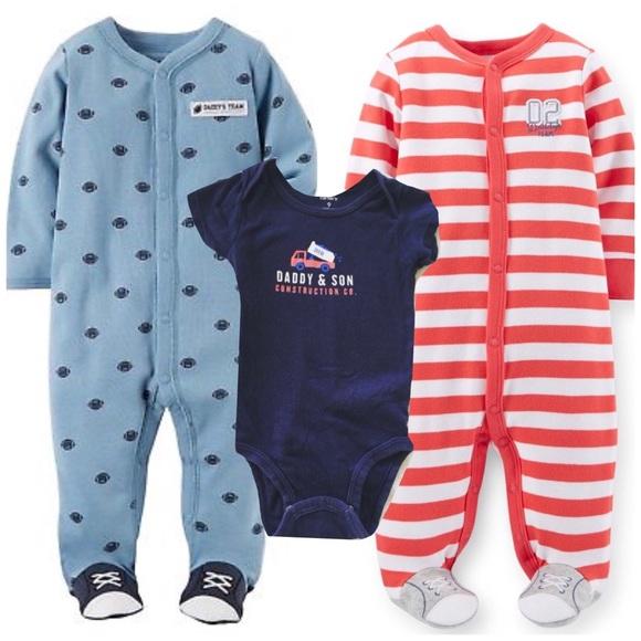Carter/'s Baby Boys 3 Pc Sleeper Bodysuit /& Pants Sleep /& Play Set NWT 6 Months